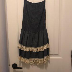 NWT chambray strapless dress